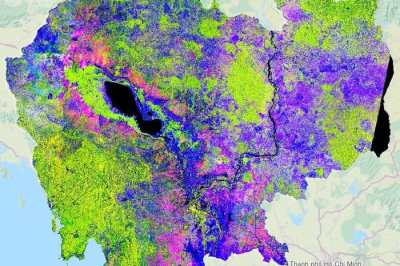 Changes in Cambodia from Sentinel-1A readings at 20 m resolution, acquired every 12 days from March 2015 to March 2016. Dark blue represents water surfaces, light blue to magenta represents agriculture (bare soil and cultivated fields), light to dark green represents forests, and white indicates settlements. In particular, the varying shades of magenta indicate rice sowing and transplanting between mid-September and the end of October. Source: contains modified Copernicus Sentinel data (2015–16)/sarmap/RIICE project/OpenStreetMap contributors (background map).