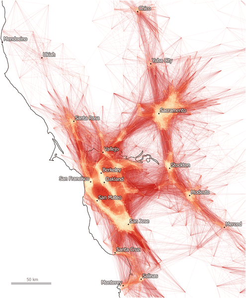 Commutes of fifty miles or less in the Bay Area.