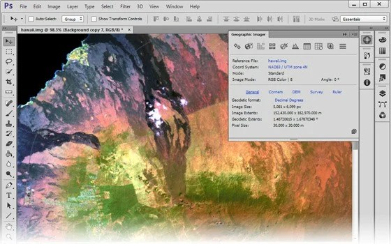 Avenza's Geographic Imager for Photoshop.