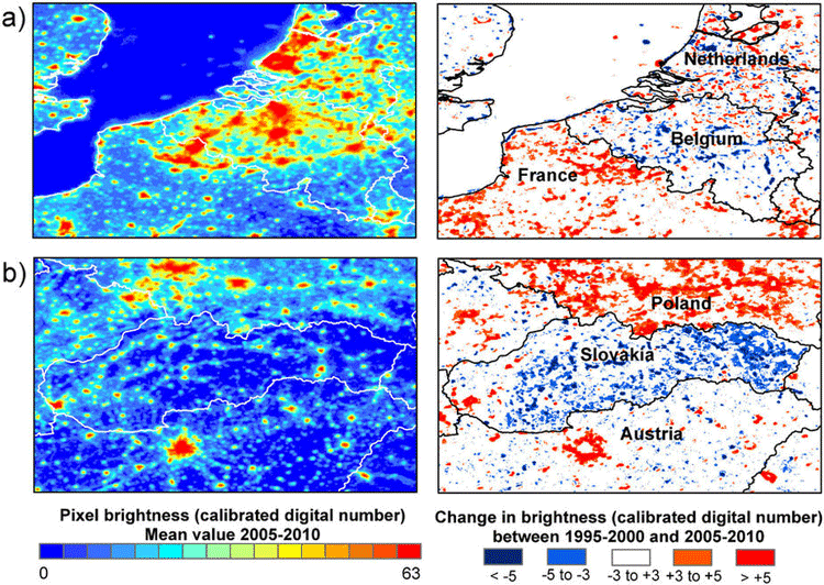 (a) Belgium shows decreases in nighttime brightness along the motorway network, while neighbouring regions of France have increased substantially in brightness. (b) Slovakia shows marked decreases in brightness, with the exception of Bratslava and towns in the west of the country. In contrast, neighbouring regions of Poland have become substantially brighter. From: Bennie et. al, 2013.
