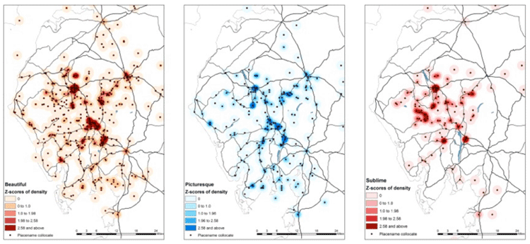 An example of research using text analysis and GIS. Maps showing distribution and density smoothing maps for beautiful, picturesque, and sublime. Donaldson, Gregory, & Taylor, 2017.
