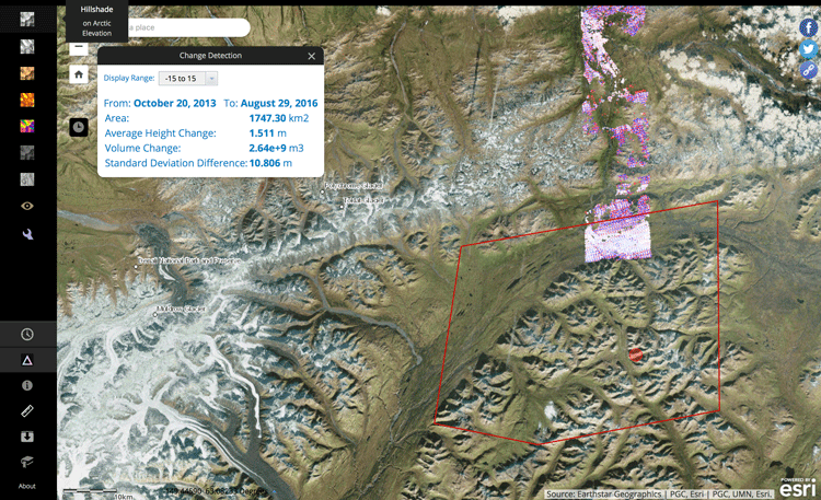 Users can access tools in ArcticDEM to see changes in elevation for specific time ranges.