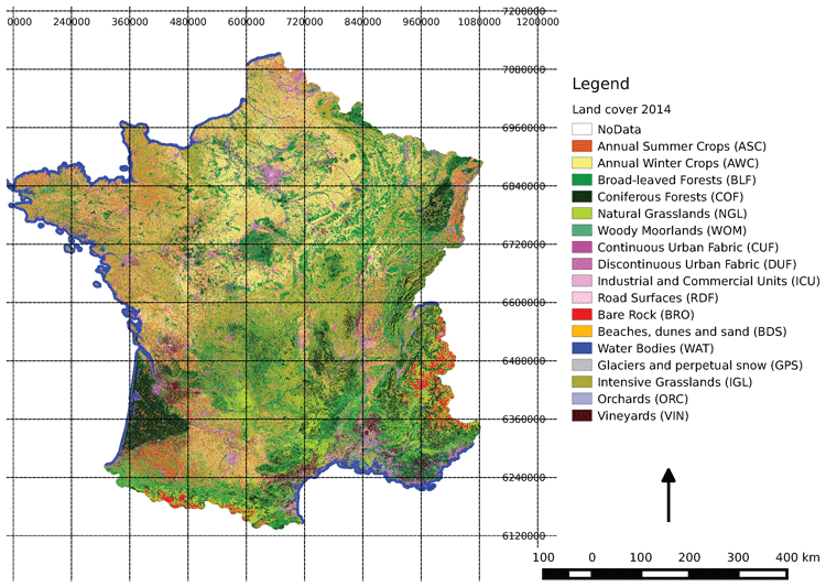 Land cover map for France for the year 2014. Source: Inglada et al., 2017.