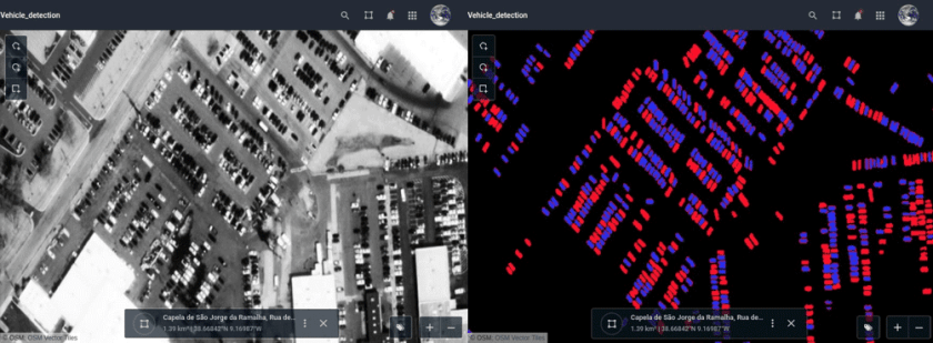 A parking lot in Portugal. Before / after vehicle detection from WorldView-3 image.