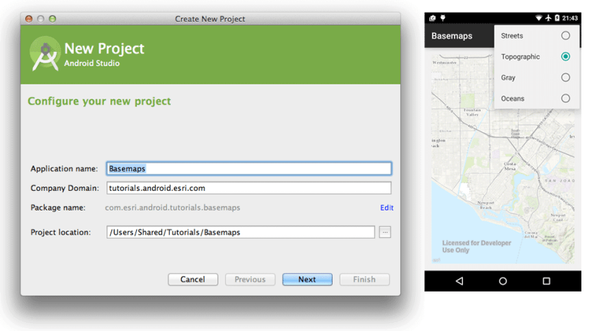 Screenshots from the ArcGIS Runtime SDK for Android Guide.  Source: Esri