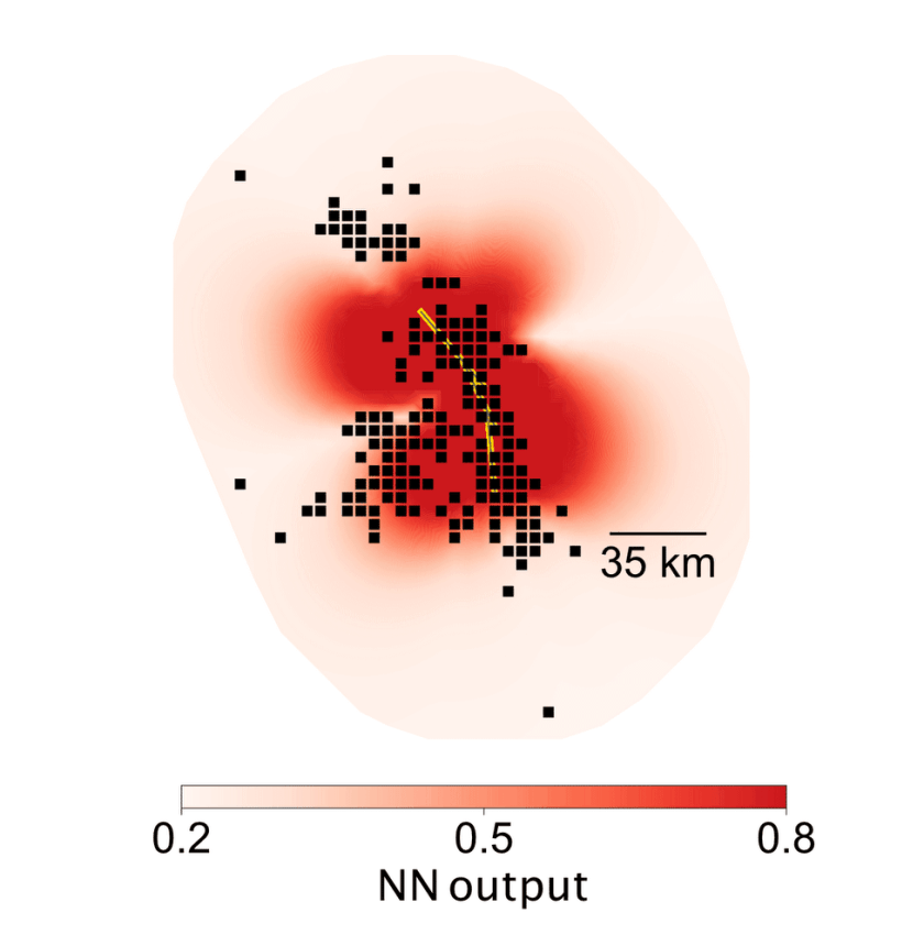 Visualization of AI aftershock predictions for the Landers earthquake. Dark red colors indicate regions predicted to experience aftershocks. The black dots are the locations of observed aftershocks, and the yellow line shows the faults that ruptured during the mainshock. From: DeVries, 2018, Google AI Blog.