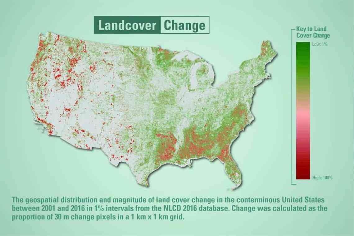 Map showing the distribution and magnitude of land cover change in the conterminous U.S. between 2001 and 2016 are depicted. Source: USGS