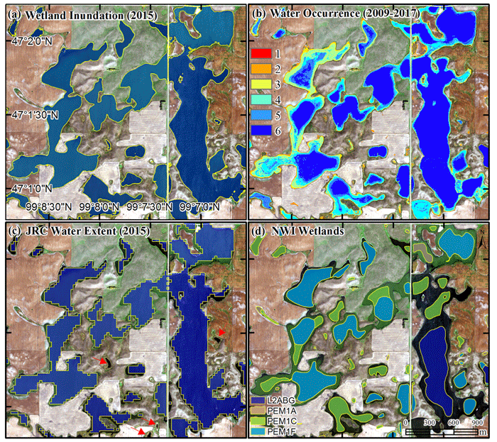 Comparison of wetland inundation maps. (a) NAIP imagery (September 2015) and LiDAR data (b) multi- temporal NAIP imagery (2009–2017) and LiDAR data (c) JRC Monthly Water History (September 2015) derived from Landsat data (d) National Wetlands Inventory (NWI) geospatial dataset derived from aerial photographs acquired in the 1980s. Source: Wu et al., 2019