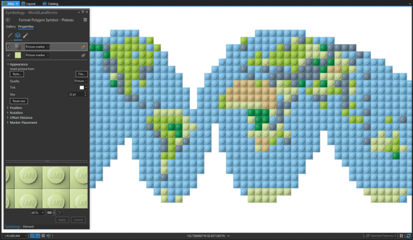 Lego map style created in ArcGIS Pro by John Nelson, Esri.