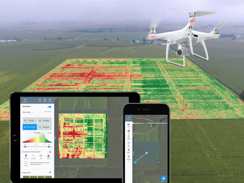 Drone can be deployed to rapidly acquire geospatial data about the health of agricultural fiels. Image: DroneDeploy