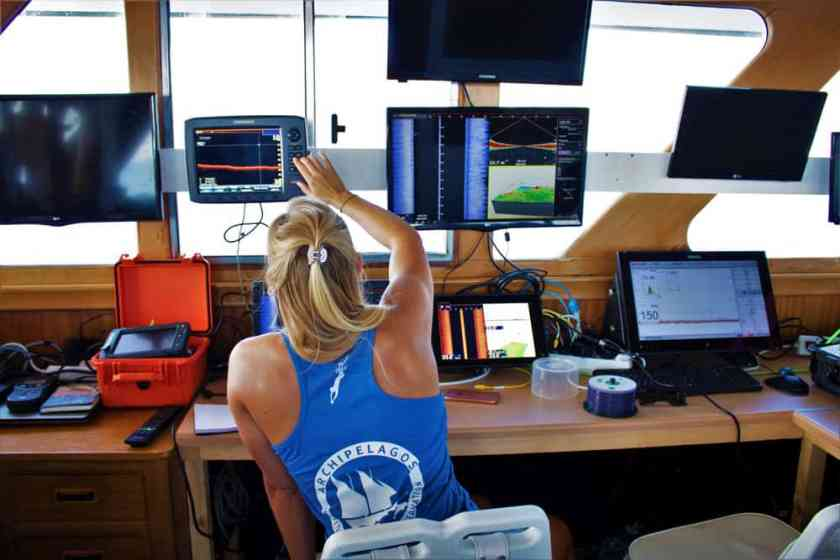Data collection onboard the Aegean Explorer. Photo supplied by the author.