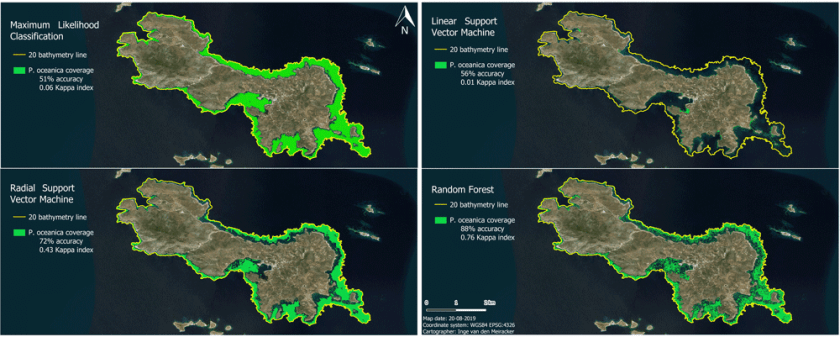 Seagrass distribution around the island of Lipsi modelled by the four classifiers. Figure supplied by the author
