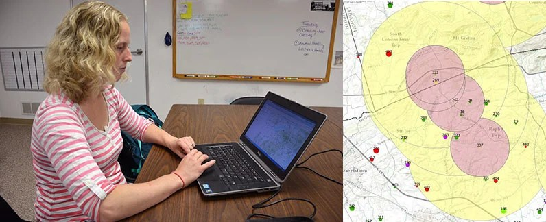 Dr. Meghann Pierdon uses GIS to identify disease hotspots among Pennsylvania's pig and poultry.