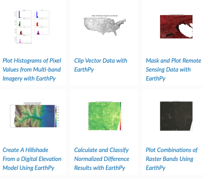 Examples of using EarthPy to work with GIS data. Source: EarthPy Gallery