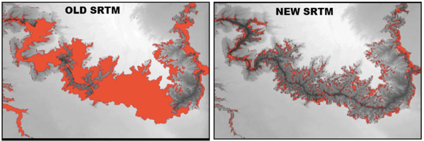 Missing data in red, original versus reprocessed SRTM. Height as brightness, Grand Canyon, Arizona, USA. Source: Crippen et al., 2016.