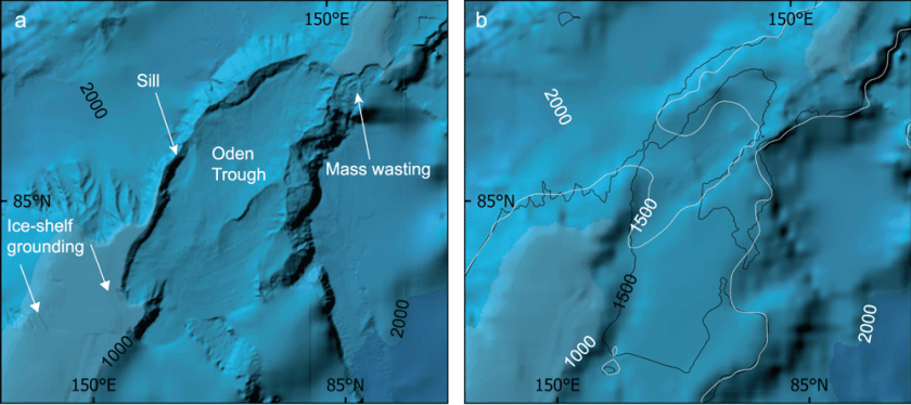 Maps showing the different in detail and resolution of International Bathymetric Chart of the Arctic Ocean (IBCAO) between Ver. 3.0 (500 × 500 m resolution) and Ver. 4.0 (200m x 200m resolution) in two areas of the Lomonosov Ridge.  Source: Jakobsson, M., Mayer, L.A., Bringensparr, C. et al. The International Bathymetric Chart of the Arctic Ocean Version 4.0. Sci Data 7, 176 (2020). https://doi.org/10.1038/s41597-020-0520-9