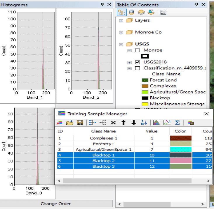 Figure 7. Blacktop training sample histogram class analysis.