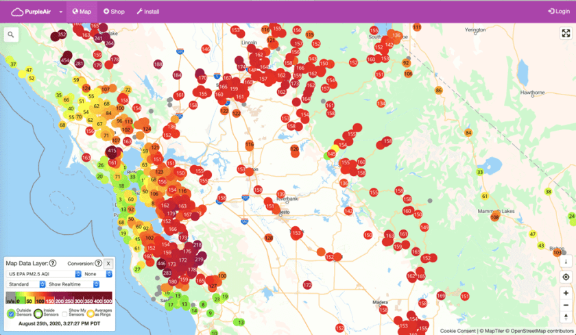 The PurpleAir map crowdsources air quality readings from Internet of Things sensors.