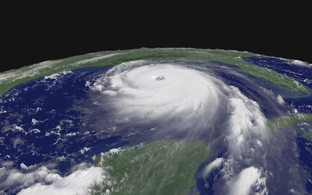 Imagery from NASA of Hurricane Katrina, 2005.