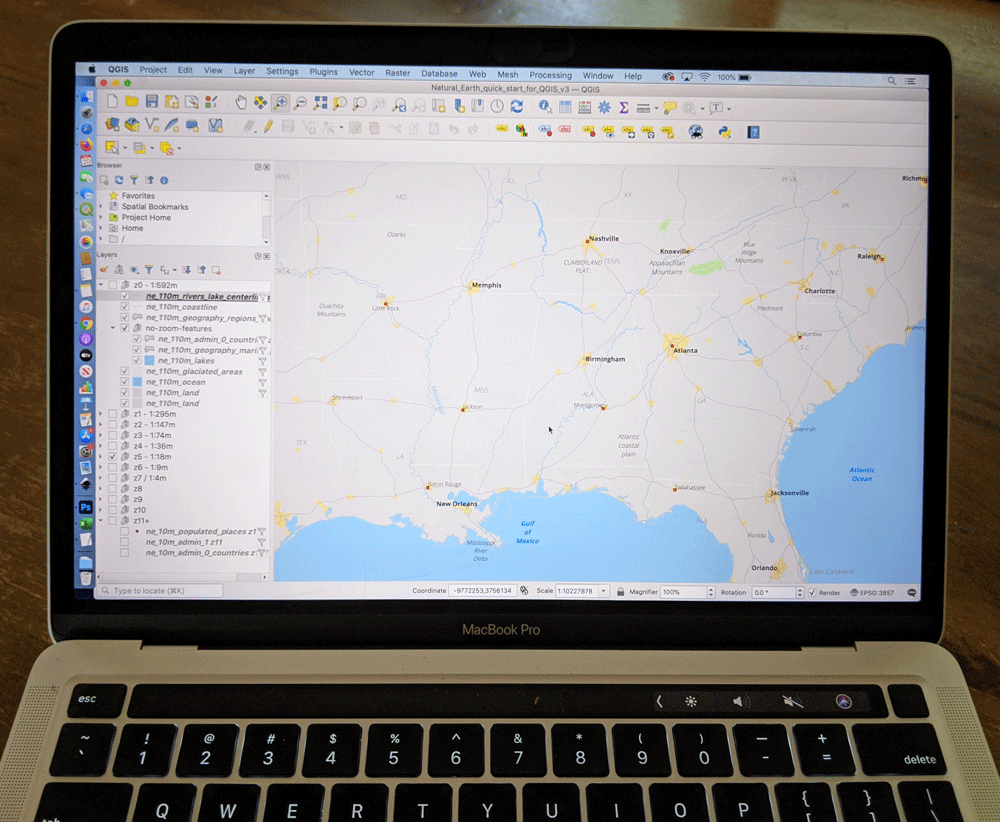 QGIS on a laptop. Image: Caitlin Dempsey