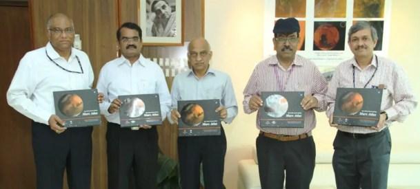 Shri A S Kiran Kumar, Chairman ISRO (centre) releasing the Mars Atlas with Dr. Y V N Krishnamoorthy, Scientific Secretary ISRO (left); Dr. Annadurai M, Director ISRO Satellite Centre, Shri Tapan Misra, Director Space Application Centre ISRO, Shri Deviprasad Karnik, Director Public Relations Unit ISRO Credit: ISRO