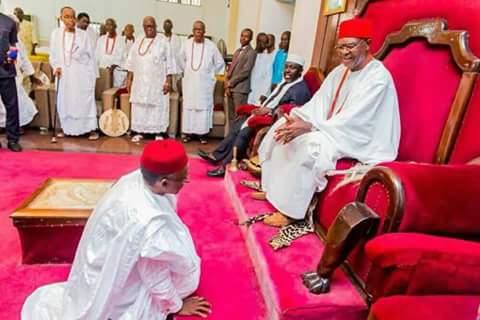 Photos Of Governor Nasir El-Rufai Paying Homage To The Obi Of Onitsha