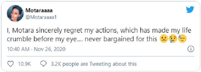 Influencer Motara Seeks Sympathy Days After Twitter Suspended Her Account for Mocking a Child Beggar