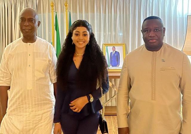 Actress Regina Daniels and Husband, Visits The President of Sierra Leone