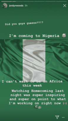 Jordyn Woods announces upcoming visit to Nigeria