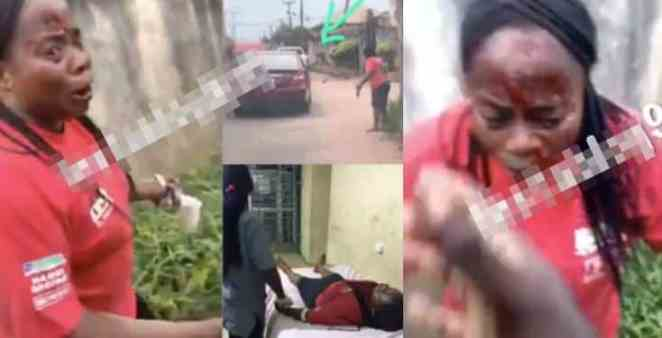 Policeman shoots a lady while trying to shoot a dog in Edo (Video)