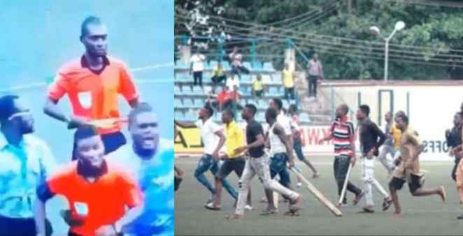 Referee seen running for dear life after an NPFL match in Lagos (video)