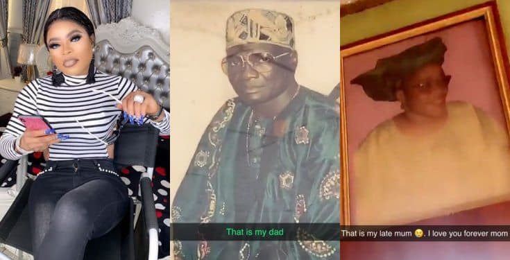Bobrisky shares photos of his late father and mother (Video)
