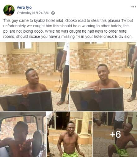Man nabbed while attempting to leave with hotel's TV in his bag in Benue