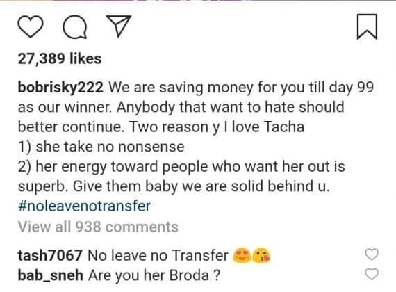 BBNaija 2019: Bobrisky open up why he supports Tacha