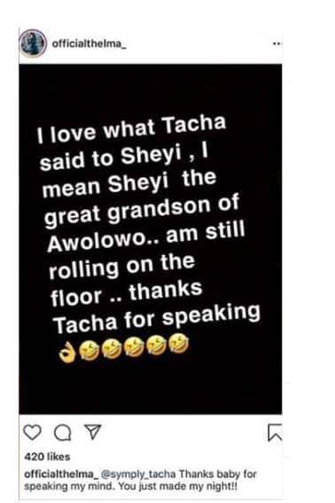 BBNaija: Thelma mocks Seyi, applauds Tacha for putting him in his rightful place