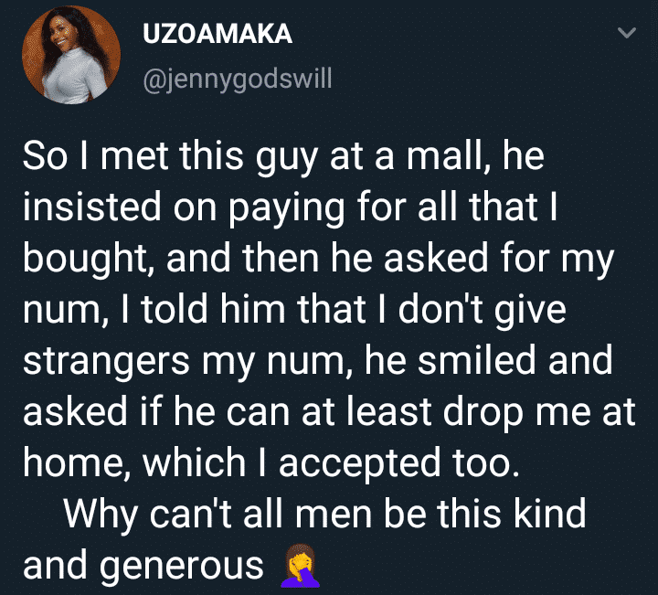 Lady shocked as random guy paid for her shopping and dropped her at home even after she refused to give him her number
