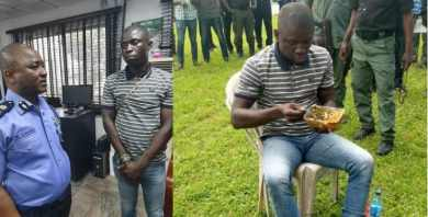 Suspected Port Harcourt serial killer seen having rice with bottle water