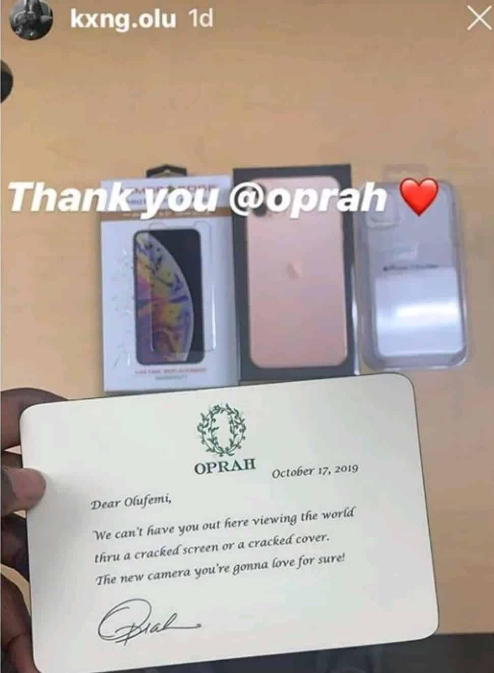 Oprah Winfrey gifts Nigerian boy a brand new iPhone 11