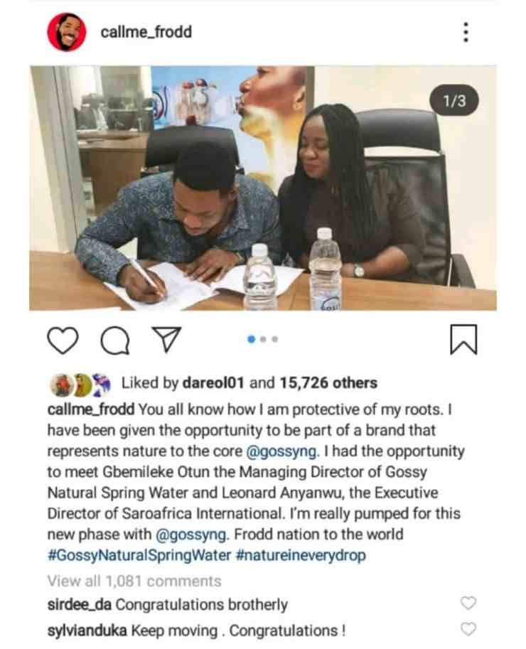 Frodd and Sir Dee signs endorsement deal with GossyNg