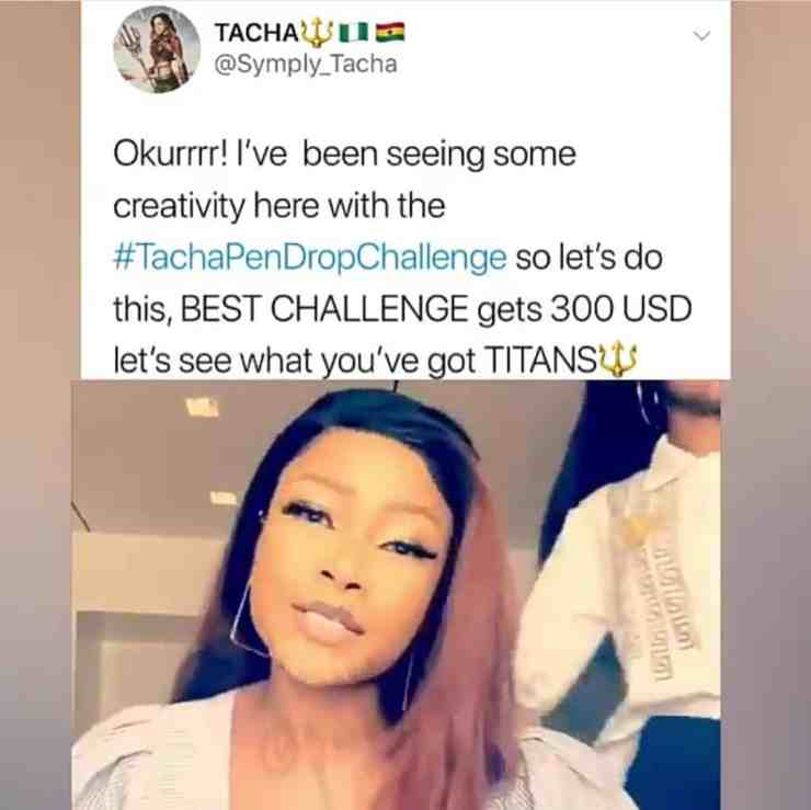 Tacha to give $300 to winner of viral #DropPenChallenge