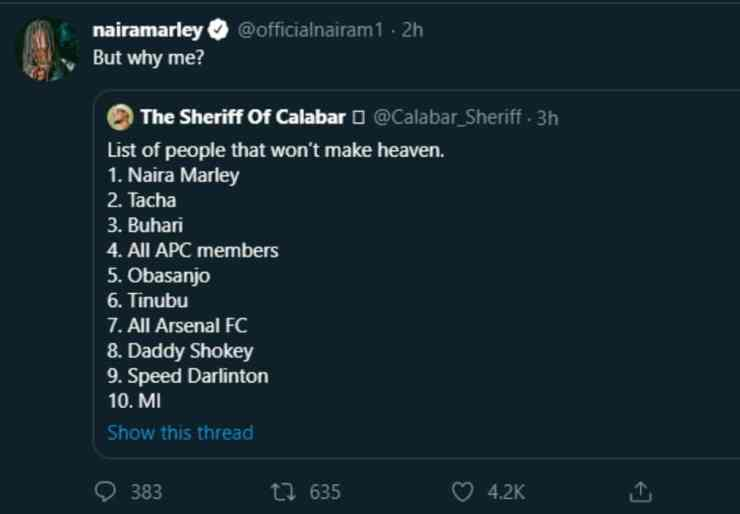 Naira Marley reacts after topping the list of celebrities who won't make heaven 1