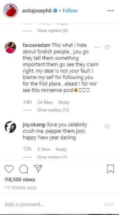 ENTERTAINMENT NEWS: Nigerians blast Anita Joseph for posting a bathtub video 7