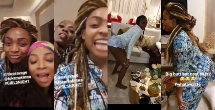 Tiwa Savage, Toke Makinwa And Davido's Sister, Sharon Engage In Twerking Competition (Video)