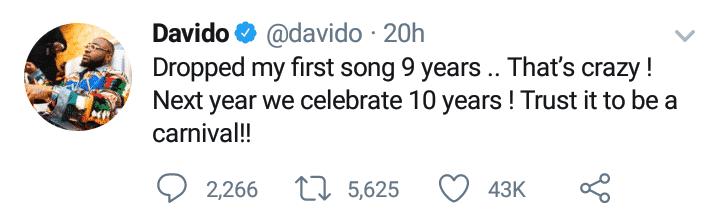 Davido clocks 9 years in the music industry