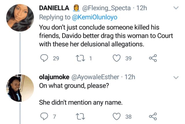 Nigerians react as Kemi Olunloyo accuses Davido of killing his 3 friends