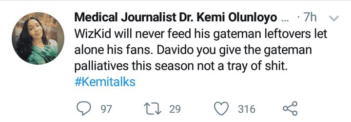 Kemi Olunloyo blasts Davido for feeding gateman with leftover food