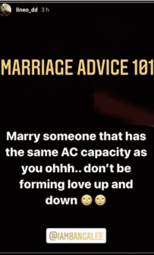 Lineo gives marriage tips