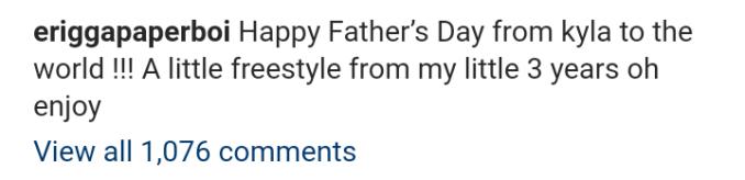 Erigga's 3-year-old daughter raps