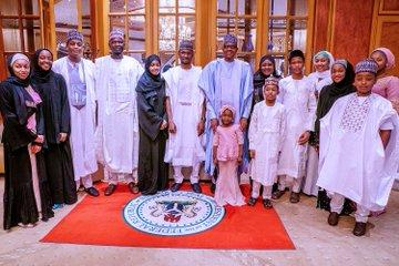 Buhari observes Eid-Kabir prayers with his family and aides in Abuja (Photos)