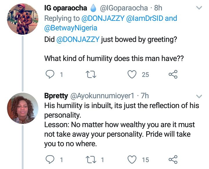 Nigerians react after Don Jazzy was seen bending to greet a lady during morning workout (Video) 2